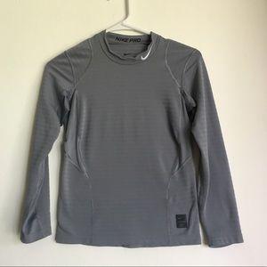Boy's Nike Pro Grey Dri-Fit Long Sleeve T-Shirt